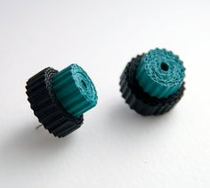 Corrugated cardboard eco earrings in turquoise blue and by Egeo