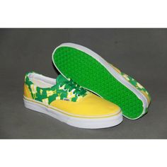 Vans Shoes Yellow and Green With Little Person Classic Canvas Sneakers Cheap Van, Vans Skate, Van For Sale, Canvas Sneakers, Shoes Outlet, Vans Classic, Vans Shoes, Yellow, Backless Wedding