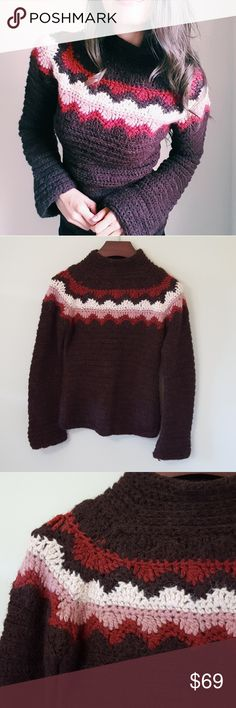 J. Crew | hand knit bell sleeve sweater | M Stunning! In good condition! Beautiful hand knit sweater, size medium. Amazing color combinations for fall! Thick, warm sweater. Used item: pictures show any signs of wear. Bundle up! Offers always welcome:) J. Crew Sweaters