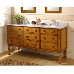 Direct Vanity Harvest Honey Oak Double Vanity Sink Cabinet - Overstock™ Shopping - Great Deals on Bathroom Vanities Country Bathroom Vanities, Bathroom Vanity Designs, Bathroom Sink Vanity, Vanity Cabinet, Bath Vanities, Bathroom Ideas, Bath Ideas, Master Bathroom, Downstairs Bathroom