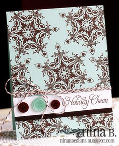 how to use pretty seasonal cardstock!  just add a sentiment band on the bottom & tie on a ribbon, add some bling