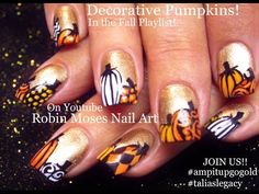 FALL Nail Art | Gold Nails with Pumpkins Nail Design Tutorial | Go Gold! - http://www.nailtech6.com/fall-nail-art-gold-nails-with-pumpkins-nail-design-tutorial-go-gold/