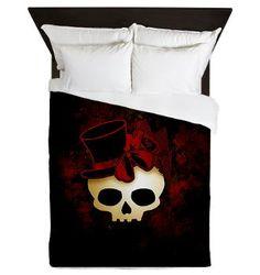 Cute Gothic Skull In Top Hat Queen Duvet Cover