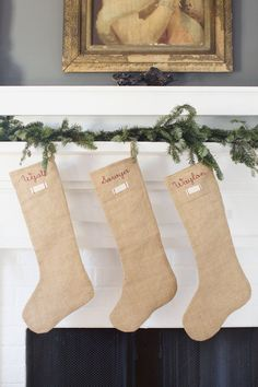 Our classic Burlap Stockings will make a beautiful statement on your mantle for years to come.Generous in size for packing in special treasures with our signature heirloom tag and simple red stitching. Rustic Christmas, Christmas Crafts, Christmas Decorations, Holiday Decor, 1st Christmas, Holiday Ideas, Vintage Gifts, Vintage Home Decor, Burlap Stockings