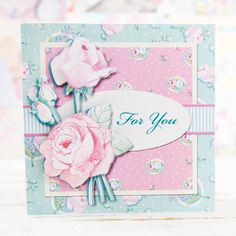 Beautiful rose embellished card from the April Rose CD Collection. Shop now at C&C: http://www.createandcraft.tv/pp/serif-april-rose-collection-cd-rom-349944?p=1 #cardmaking #papercraft