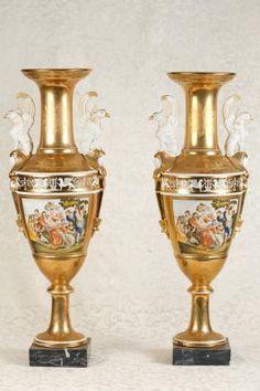 Pair Sevres Porcelain Vases Urns Bisque Griffins