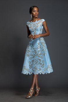 SOPHIA Alice blue Aso-oke, A-line dress patterned with…
