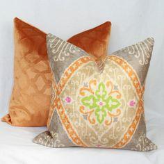Orange & gray velvet pillow