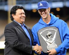 Fernando Valenzuela presents Clayton Kershaw with his 2011 Cy Young Award plaque prior to game against the Pittsburgh Pirates Wednesday April 11, 2012 at Dodger Stadium