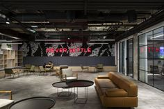 Stunning Open-Space Revolut Offices by Thirdway Interiors Foster Motivation and Teamwork Open Space Office, Office Workspace, Office Spaces, Corporate Interior Design, Corporate Interiors, Office Interiors, Office Reception Area, Waiting Area, Workplace Design