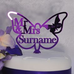 Royal Purple Butterfly Wedding Cake Topper Personalised Mr & Mrs or Same Sex - Anniversary Butterflies Themed Party Keepsake LittleShopOfWishes - Purple Mirror Acrylic Burgundy Wedding Cake, Purple Wedding Cakes, Wedding Cakes With Cupcakes, Wedding Cakes With Flowers, Party Cakes, Blue Wedding, Country Wedding Cakes, Wedding Cake Decorations, Wedding Cake Rustic
