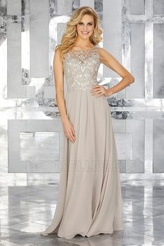 Sheath/Column Jewel Neck Floor-length Mother of the Bride Dress With Appliques Lace