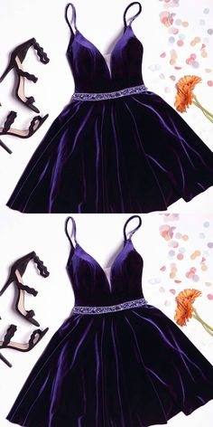 A-line Homecoming Dresses,Purple Homecoming Dresses,Velvet Crystal Short Homecoming Dresses,2017 Spaghetti Straps Party Dress