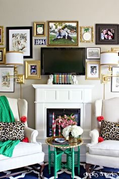 "Here's a unique example of the flat screen tv custom framed wall grouping... This one does such a great job ""hiding"" the tv, it'd difficult to see right away. Awesome!"