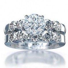 Platinum plated ~ 3 carat flawless Wedding Ring  set