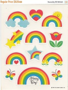 A cool rare vintage Hallmark rainbow sticker sheet from the 1980s. This sheet is approximately 6 long and in great condition.