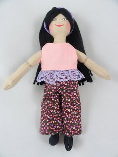 Toy Dress Up Doll with Black Hair by JoellesDolls on Etsy