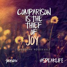 "JOY. ""Comparison is the thief of joy."" ~Theodore Roosevelt #speaklife #TobyMac #lyrics famous quotes"