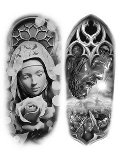 Full Hand Tattoo, Full Sleeve Tattoo Design, Christ Tattoo, Jesus Tattoo, Tattoo Sketches, Tattoo Drawings, Religous Tattoo, Religion Tattoos, Cherub Tattoo