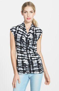 Chaus Print Cap Sleeve Faux Wrap Top rayon/spandex rich black/grey/white szS 44.00