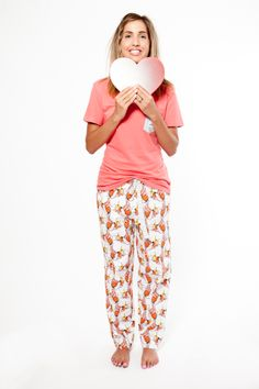 A little bit of love. Hello Mrs organic cotton pyjama pants worn with Give us a T!Shirt in Rose. www.thegoodnightsociety.com.au