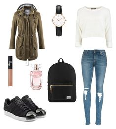 """School outfit"" by margherita-liparoto ❤ liked on Polyvore featuring adidas Originals, Herschel Supply Co., Daniel Wellington, NARS Cosmetics and Elie Saab"