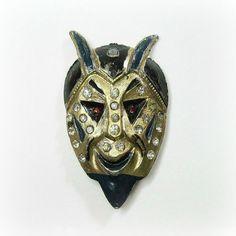 Vintage Art Deco Devil Brooch  Pin  Blue  Black  by WickedDarling, $109.00