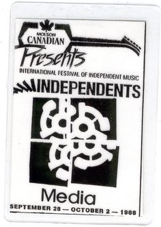INTERNATIONAL FESTIVAL OF INDEPENDENT MUSIC 1988 Plasticised Media PASS MOLSON ROCK TORONTO CANADA Safely Stored For Over 28 Years   This Will be a great Gift for any Fan  Shipping will be within 2 days of your payment  All Sales are Guaranteed Satisfaction  We are Fans so we know what fans Expect  THEMIGHTYFINWAH 28th October, International Festival, Independent Music, Toronto Canada, Backstage, Great Gifts, Fans, Rock, Board