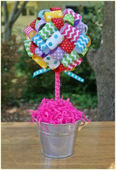 Polka dots & chevrons! Would look great on the dessert, drink, or gift table. Perfect color scheme for an art party. #topiary #sweetgeorgiasweet Chevron Birthday, Rainbow Birthday, 4th Birthday Parties, Diy Birthday, Polka Dot Party, Polka Dots, Ribbon Topiary, Rainbow Parties, Birthday Centerpieces