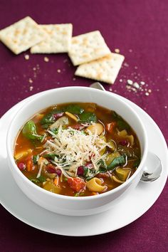 Olive Garden Minestrone Soup Copycat {made in the slow cooker}: something to warm up with.