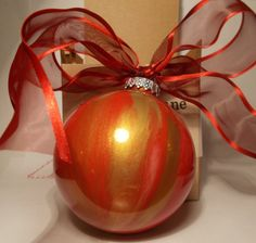 OOAK Hand Painted Glass Red and Gold Christmas by FriendlyDane, $7.50