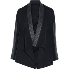 Maje - Leather-trimmed Knitted Cardigan (740 BRL) ❤ liked on Polyvore featuring tops, cardigans, outerwear, midnight blue, leather trim top, leather cardigan, open front cardigan, maje top and leather trim cardigan