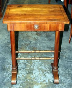 Sewing Table, Biedermeier style, cherry, 1820 - 76 cm x 57 cm x 44 cm (h x w x d), www. Bedside Tables, Entryway Tables, Sewing Table, Antique Furniture, Coffee Tables, Cherry, Antiques, Home Decor, Nightstands And Bedside Tables