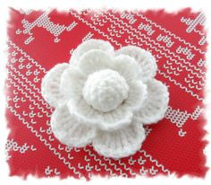CROCHET BROOCH APPLIQUE SNOW WHITE ACRYLIC FLOWER** in Crafts, Crocheting & Knitting, Other Crocheting & Knitting   eBay
