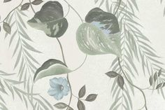 Sage Botanical Wallpaper | Little Crown Interiors Botanical Wallpaper, Damask Wallpaper, Nursery Wallpaper, Wallpaper Size, Pattern Wallpaper, Chinoiserie, Painted Branches, Light Blue Flowers, Willow Branches