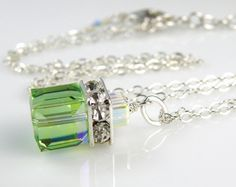 Peridot Necklace Swarovski Cube Green Pendant Crystal by fineheart, $36.00