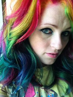 My most recent take on rainbow hair.    ugg-off, via Flickr