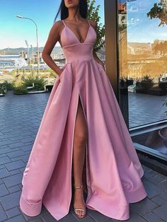 a line pink long prom dresses, cheap prom party dresses, pretty prom dresses Prom Dresses Long Pink, Cheap Formal Dresses, Prom Dresses With Pockets, Straps Prom Dresses, Pretty Prom Dresses, Ball Gowns Prom, Prom Party Dresses, Homecoming Dresses, Dress Prom