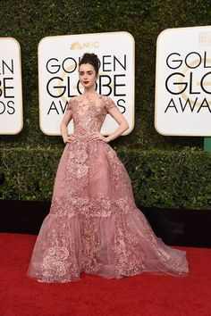 Actress Lily Collins wore a rose-colored Zuhair Murad gown to the 2017 Golden Globes.
