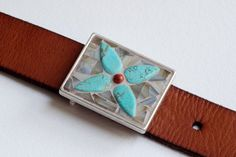 Navajo - Mosaic belt buckle with leather strap