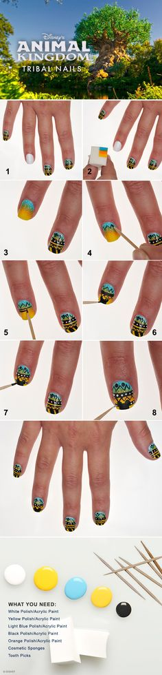~ Disney Tribal Nail Art ~ Cuteee for disney trip. Even if your going to disneyland. You can just say its for adventure land ^-^