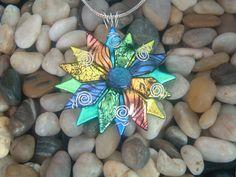 Fused Glass Dichroic Flower Pendant