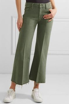 Mother - The Roller Cropped Mid-rise Flared Jeans - Army green - 32