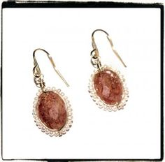 Sunstone & Pearl Earrings by favoritethingsofmine for $35.00
