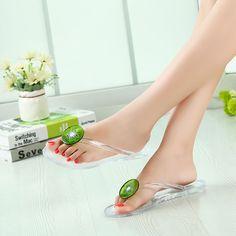 444b42d57 2017 Women Flip Flops Rubber Flat Sandals Jelly Antiskid Crystal Slippers  Clip Toe Bathroom Shoes Summer