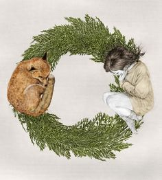 The Letter O Art Print ..... this would be a pretty Christmas time wreath print