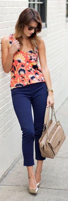 Orange Multi Hibiscus Floral Print Tank