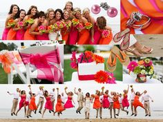 Pink and Orange beach wedding
