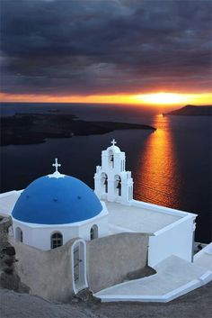 Santorini, Greece. Beautiful sunset over the church   <3