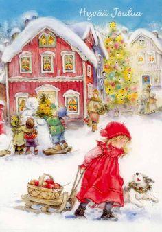 Lisi Martin, Christmas postcard 10 x Finland Christmas Scenes, Christmas Past, Christmas Pictures, Winter Christmas, Winter Fun, Illustration Noel, Winter Illustration, Christmas Illustration, Vintage Christmas Cards